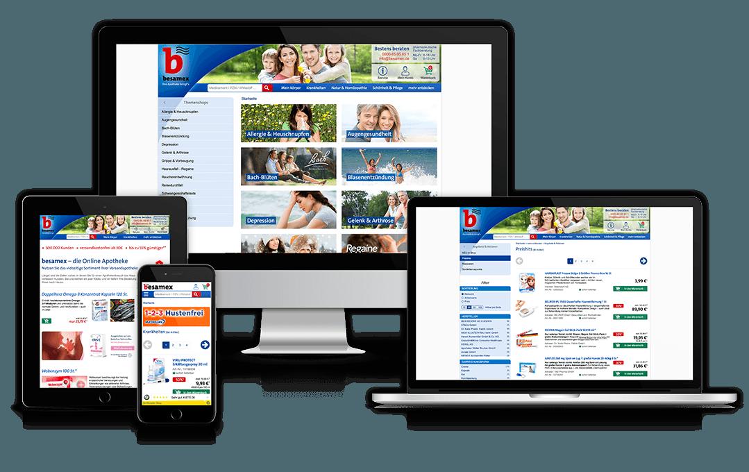 Website von Besamex auf unterschiedlichen Geräten