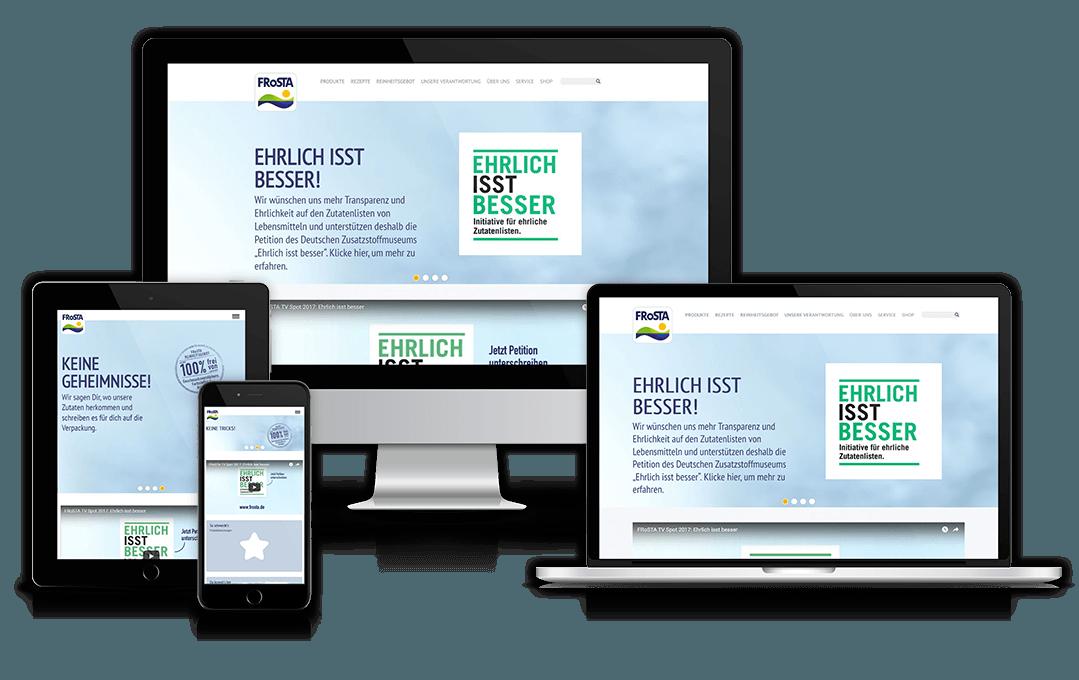 Website von Frosta auf unterschiedlichen Geräten
