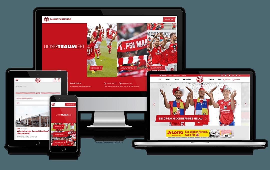 Website des Fußballvereins Mainz 05 auf unterschiedlichen Geräten