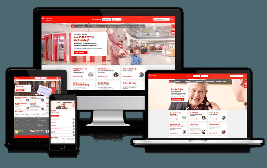 Die Website der Sparkasse Lüneburg auf unterschiedlichen Geräten
