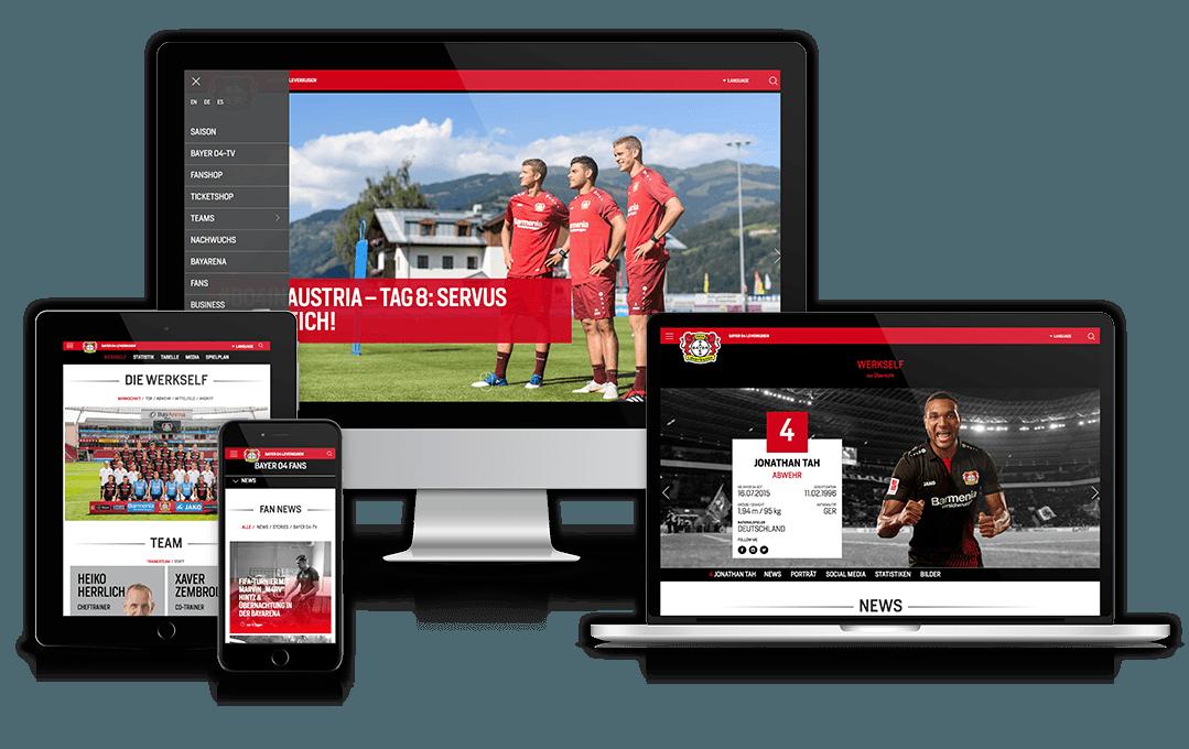 Website von Bayer Leverkusen auf unterschiedlichen Geräten