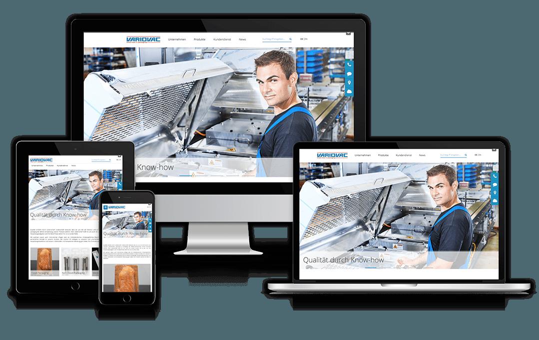 Website von variovac auf verschiedenen Geräten