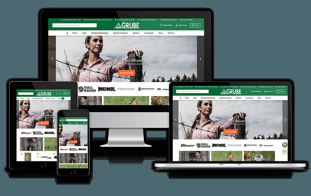 Website von Grube auf unterschiedlichen Geräten
