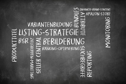 Wortwolke als Tafelbild zum Thema Amazon-SEO