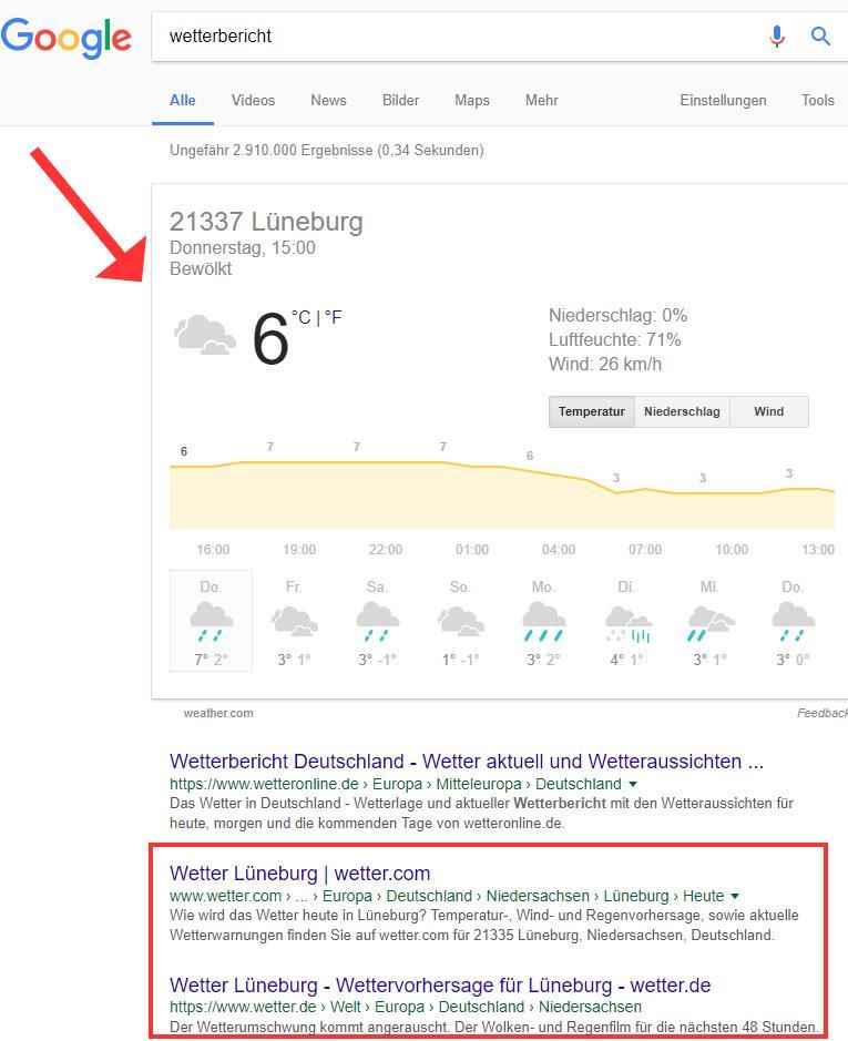 Wetterbericht bei Google