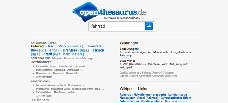 Openthesaurus Screenshot