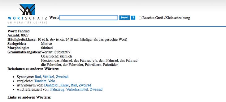Wortschatz Leipzig