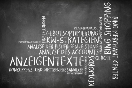 Wortwolke als Tafelbild zum Thema Bing-Werbung.