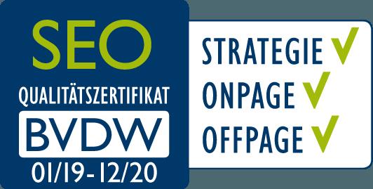 BVDW-Zertifikat für Suchmaschinenoptimierung: Strategie, OnPage, OffPage