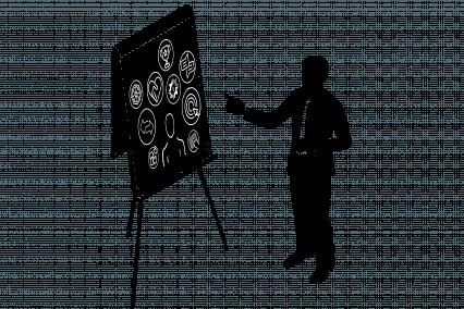 Person an einem Flipchart auf dem mehrere Meilensteine symbolisch festgehalten sind