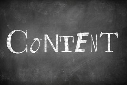 Das Wort Content an eine Tafel geschrieben