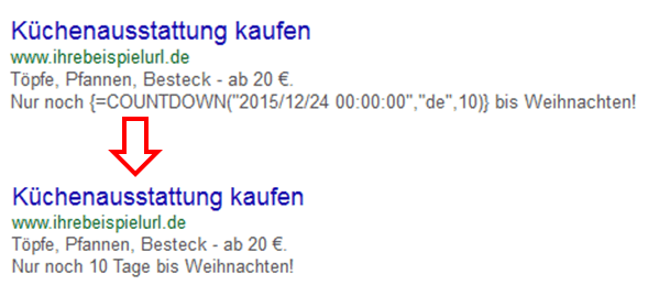 countdown google adwords