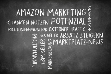 Wortwolke als Tafelbild zum Thema Amazon- und eBay-Marketing