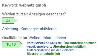 Google AdWords: Screenshot Qualitätsfaktor