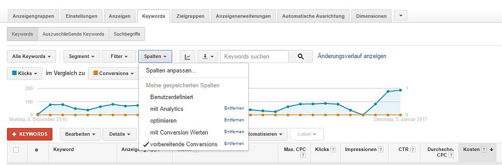 Google AdWords-Spaltenset