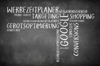 Wortwolke als Tafelbild zum Thema Google Adwords.