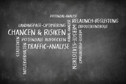 Wortwolke als Tafelbild zum Thema Google Analytics Auswertung