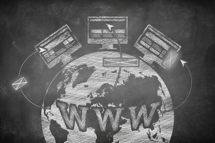 Anzeigen fliegen buchstäblich von einer www-Weltkugel auf frei Plätze von Websites.