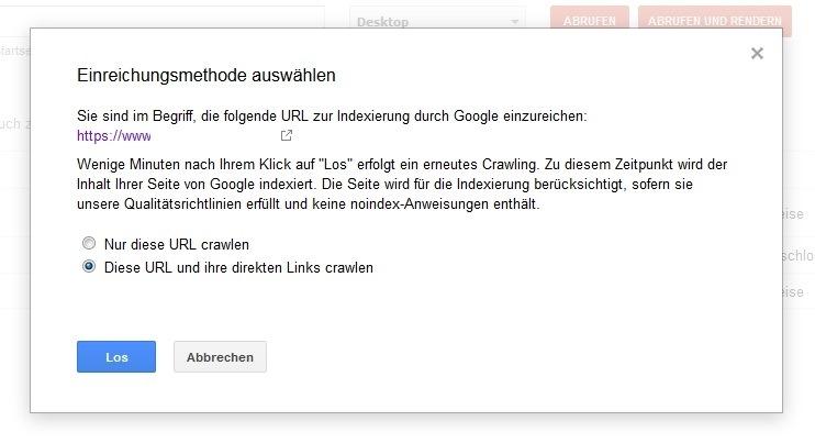 Google Search Console Abruf wie durch Google