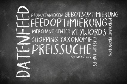 Wortwolke als Tafelbild zum Thema Google Shopping.