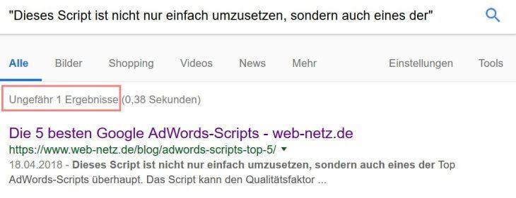Google Suchoperator: Anführungszeichen