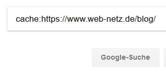 Google Suchoperatoren: Cache-Abfrage