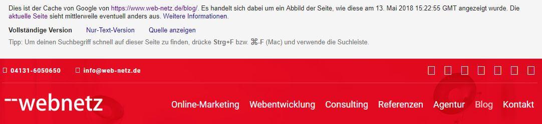 Google Suchoperatoren: Ergebnis der Cache-Abfrage mit Infoteil zu Datum und Uhrzeit.