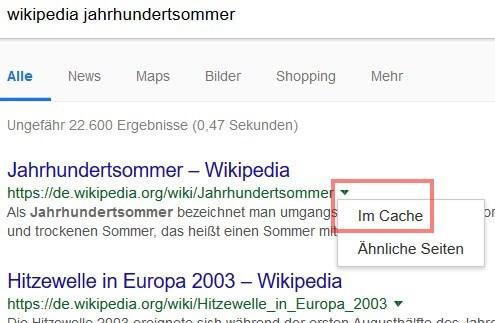 Google Suchoperatoren: Cache-Abfrage direkt in den Suchergebnissen via Dropdown-Menü aufrufen