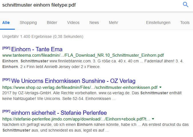 Google Suchoperatoren: filetype