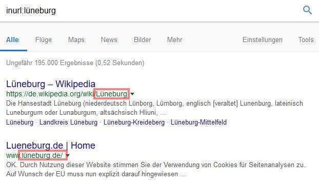 Google Suchoperatoren: inurl