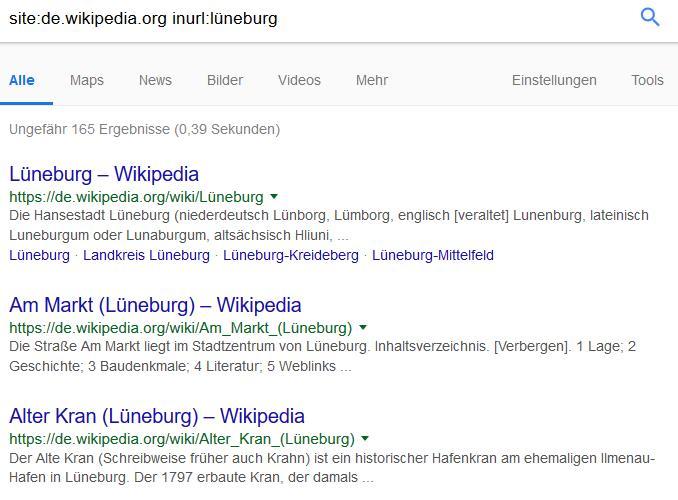 Google Suchoperatoren: inurl mit Site-Befehl kombiniert