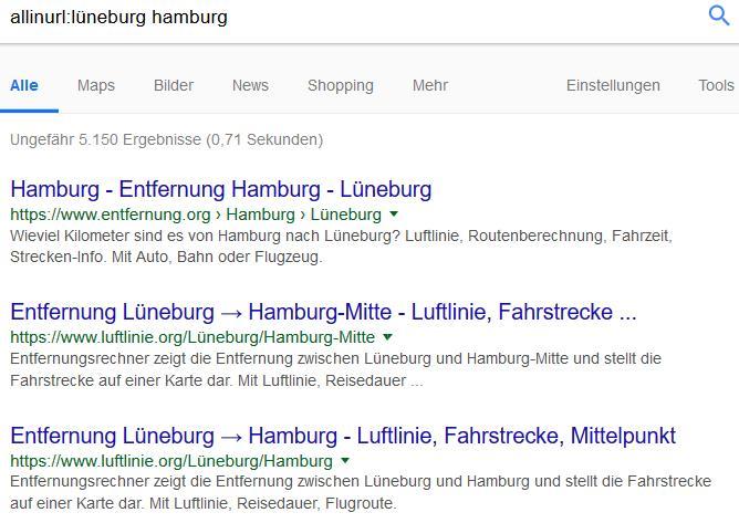 Google Suchoperatoren: allinurl