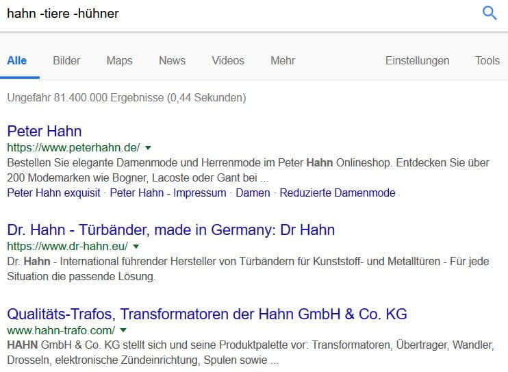 Google Suchoperatoren: Minus