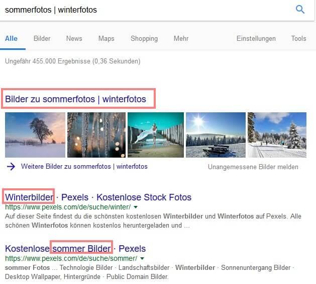 Google Suchoperatoren: Pipe bzw. Betragsstrich