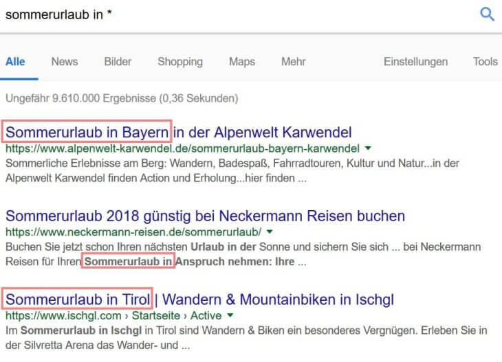 Google Suchoperatoren: Platzhalter / Wildcard