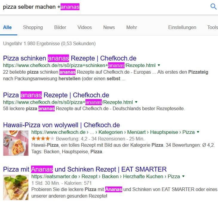 Google Suchoperatoren: Plus