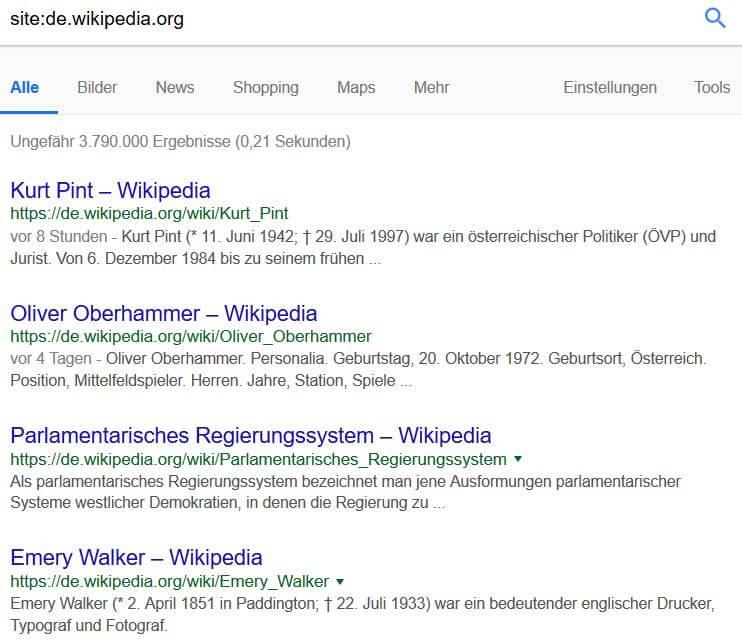 Google Suchoperatoren: Site-Befehl