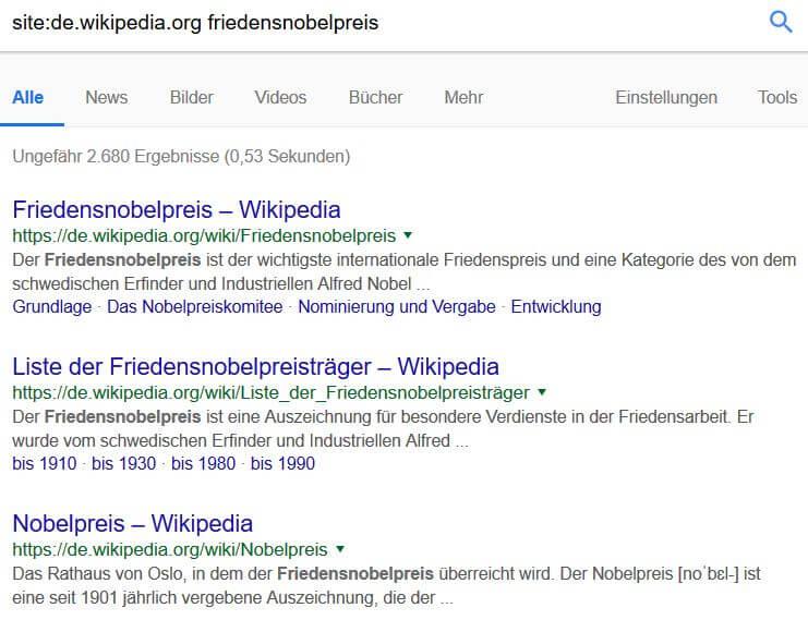 Google Suchoperatoren: Site-Befehl mit Keyword-Kombination