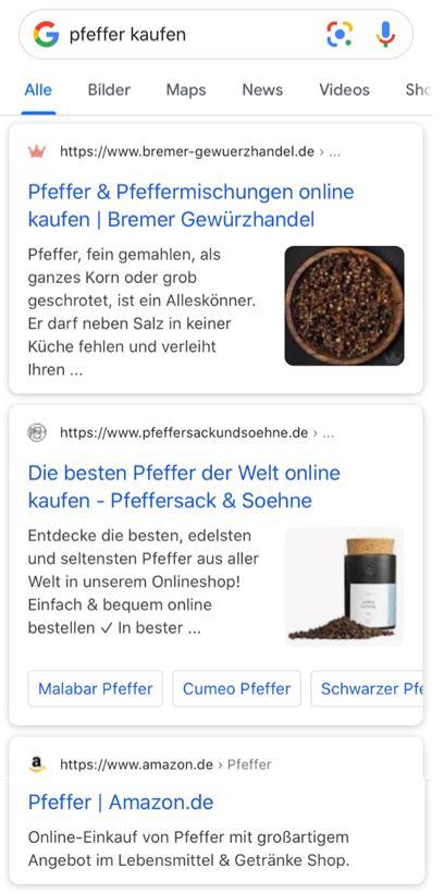 Screenshot der Googlesuche mit Suchbegriff Pfeffer kaufen