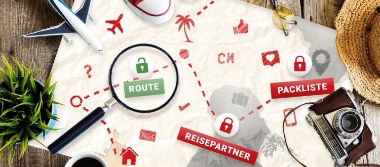 Eine Karte mit eingezeichneter Reiseroute