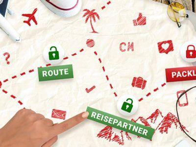 Eine Karte mit eingezeichneter Route