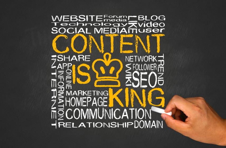 Brainstorming auf Kreidetafel zum Thema content is king