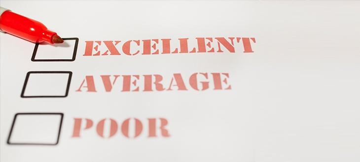 Bewertungskästchen zum Anhaken (exzellent, durchschnittlich, schlecht)