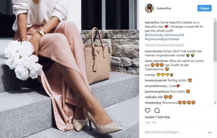 Instagram Post von Luana Silva zum Thema Schuhe
