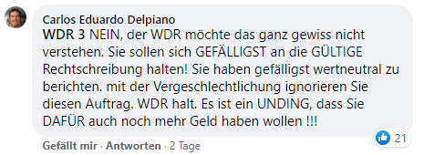 WDR Post Kommentar