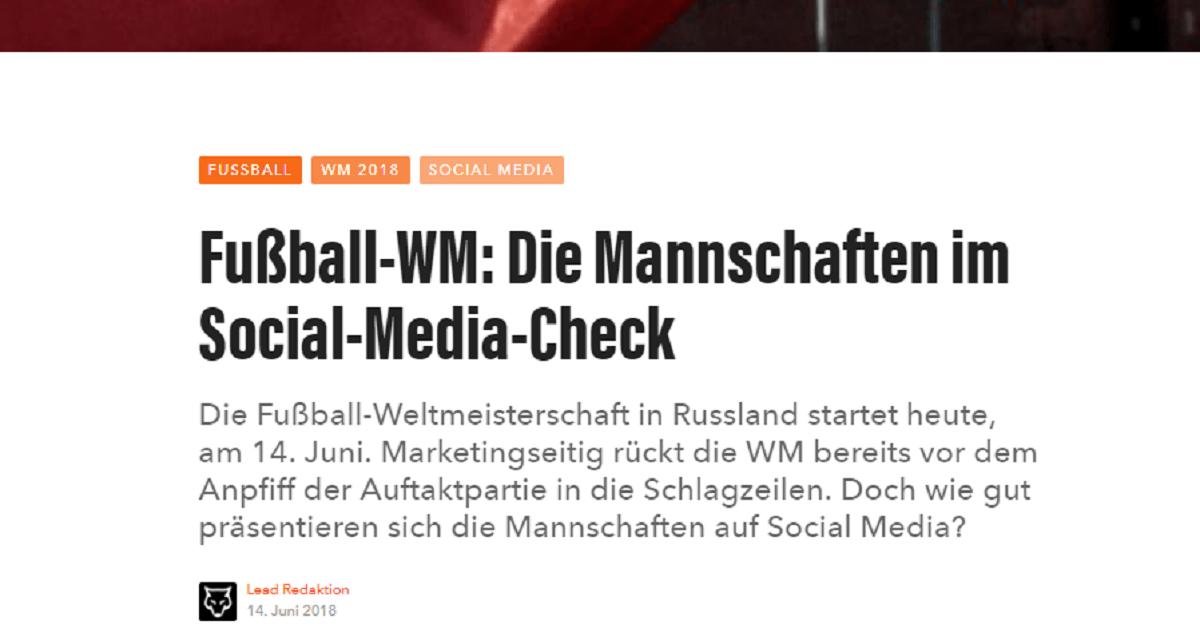 """Ausschnitt des Artikels """"Fußball-WM: Die Mannschaften im Social-Media-Check"""" aus dem Magazin Lead Digital"""