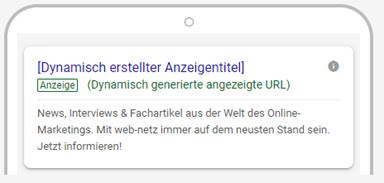 Screenshot einer dynamisch erzeugten responsiven Ad