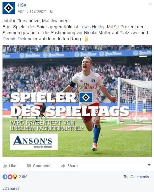 Screenshot HSV-Facebook-Post