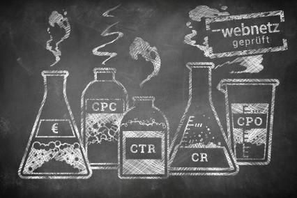 Brodelnde chemische Gefäße, die mit Fachbegriffen wie CTR, CPC, CPO und CR beschriftet sind.