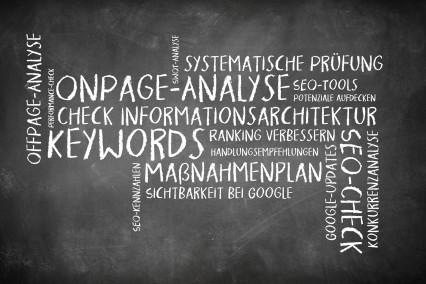 Wortwolke als Tafelbild zum Thema SEO-Analyse